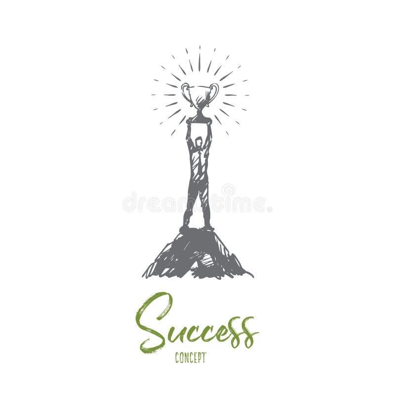 Success, leadership, goal, victory, winner concept. Hand drawn isolated vecto. Success, leadership, goal, victory, winner concept. Hand drawn man with a winner vector illustration