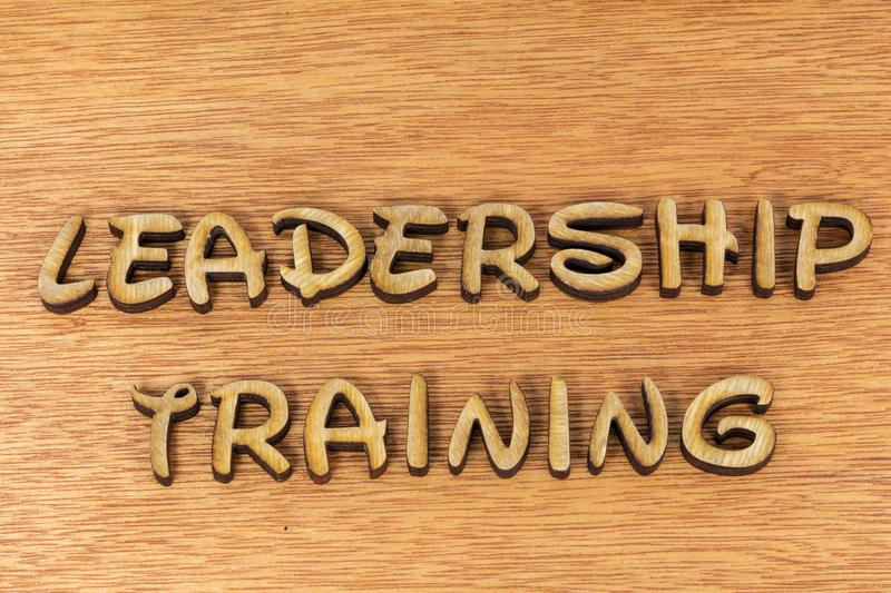 Leadership training message words sign wood stock photo