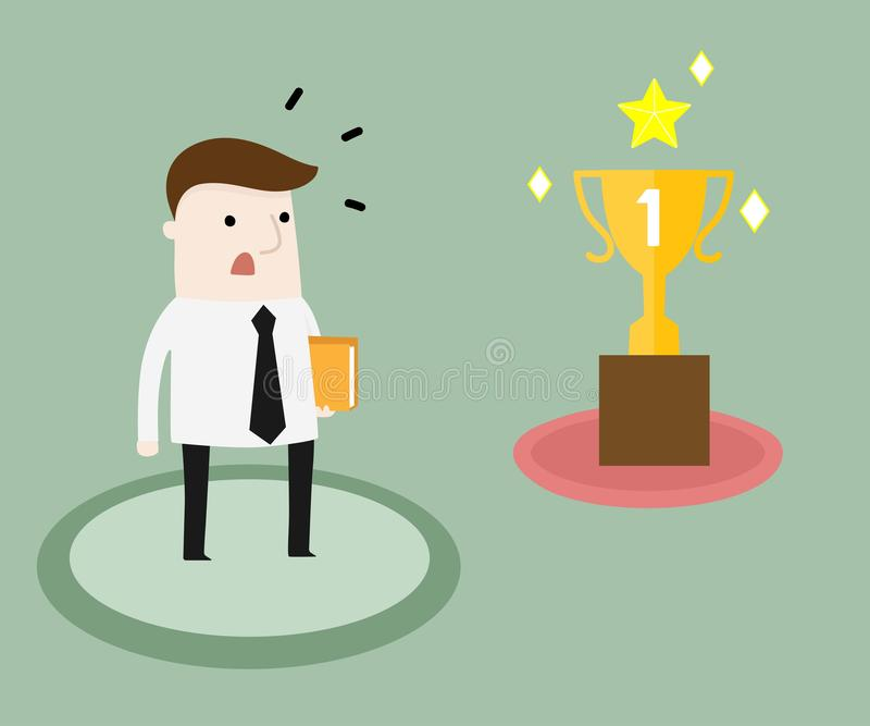 Success lies outside the comfort zone. Vector and illustration business cartoon stock illustration