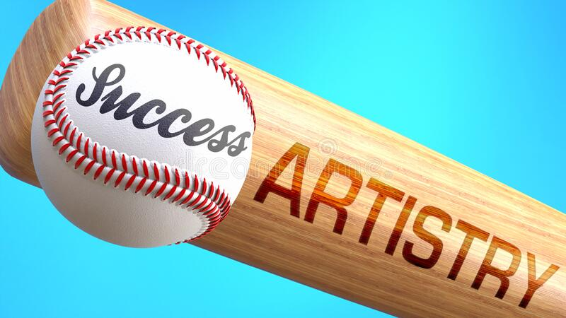 Success in life depends on artistry - pictured as word artistry on a bat, to show that artistry is crucial for successful business. Or life., 3d illustration royalty free illustration