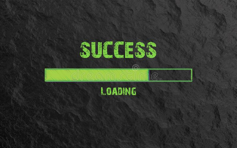 Success Loading written in green text on Stone background. vector illustration
