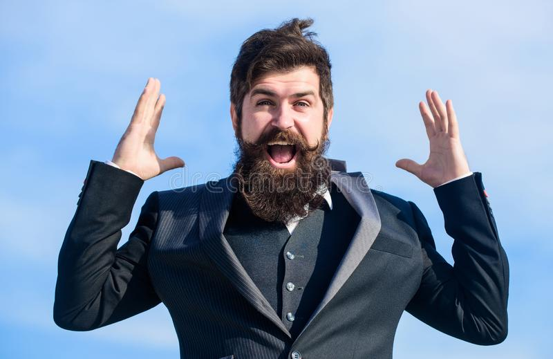 Success and luck. Optimistic mood. Think like optimist. Being optimistic. Hopeful and confident about future. Unexpected. Luck. Man bearded optimistic stock photo