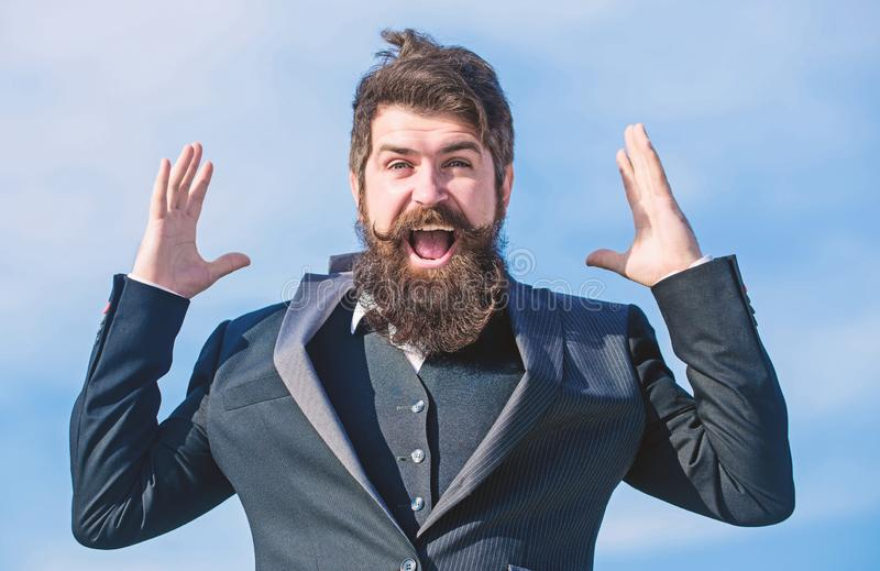 Success and luck. Optimistic mood. Think like optimist. Being optimistic. Hopeful and confident about future. Unexpected. Luck. Man bearded optimistic royalty free stock photography