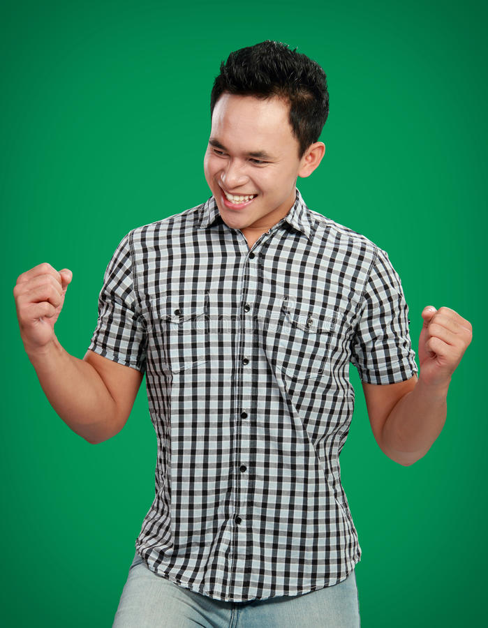 Success Man With Arms Raised Stock Image