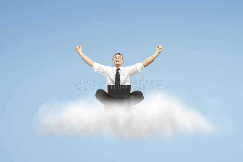 Download Success Of Man Sitting On A Cloud Stock Image - Image: 25120031