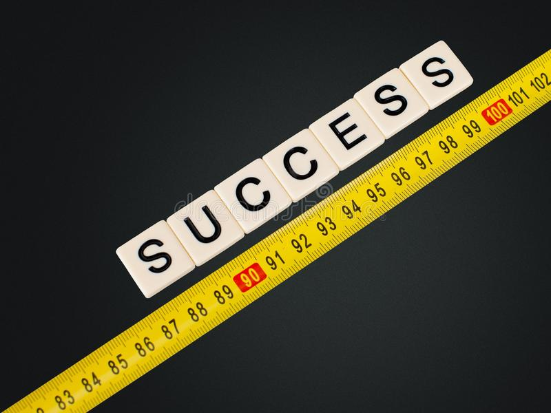 Success. Measuring aspirations comparison instrument of measurement business work tool royalty free stock images