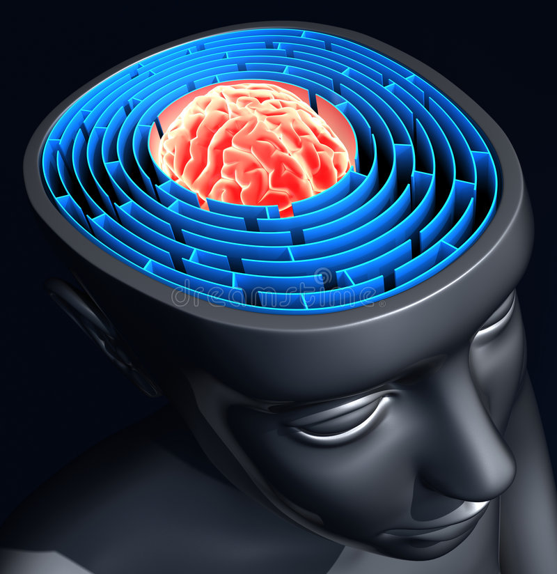 Success Mind. The labyrinth inside the head represents the difficulty to reach the success royalty free illustration