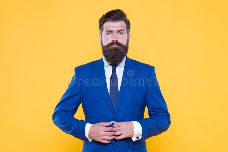 Success is Mission. handsome bearded man ceo. successful and charismatic boss. leadership concept. improve yourself in. Business. confident and serious male royalty free stock images