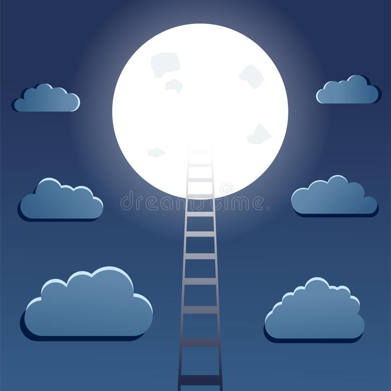 Success and motivation concept. With ladder leading to moon and clouds on night sky background. Vector illustration vector illustration