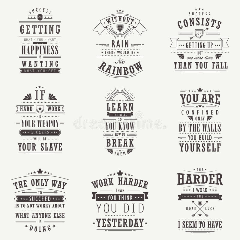 Success motivational and inspirational quotes set. Isolated on beige background vector illustration