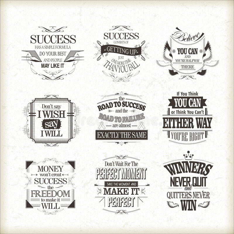 Download Success Motivational And Inspirational Quotes Set Stock Vector    Illustration Of Life, Illustration: