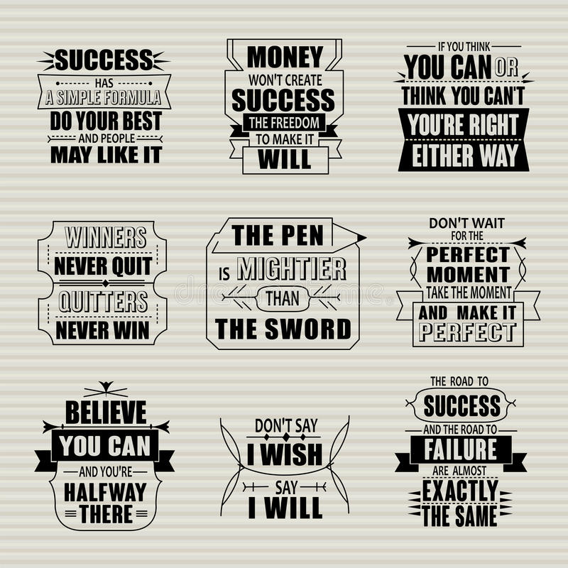 Success motivational and inspirational quotes set. Isolated on beige background stock illustration