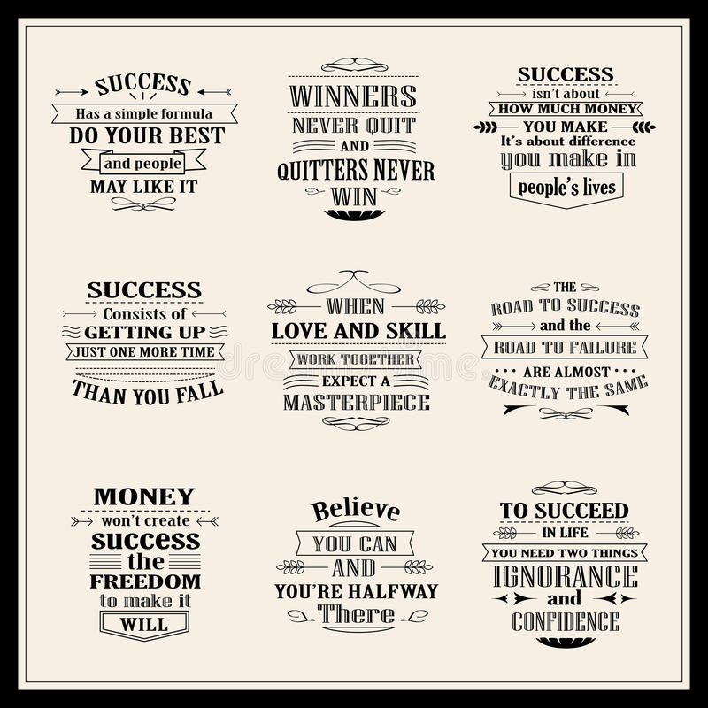 Success motivational and inspirational quotes set royalty free illustration