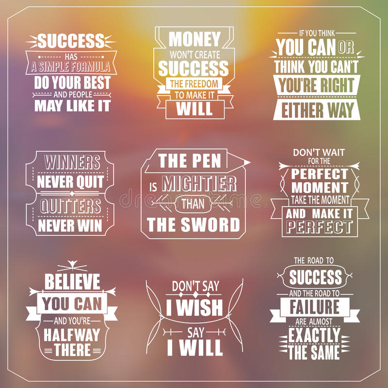 Success motivational and inspirational quotes set. Isolated on blurred background royalty free illustration