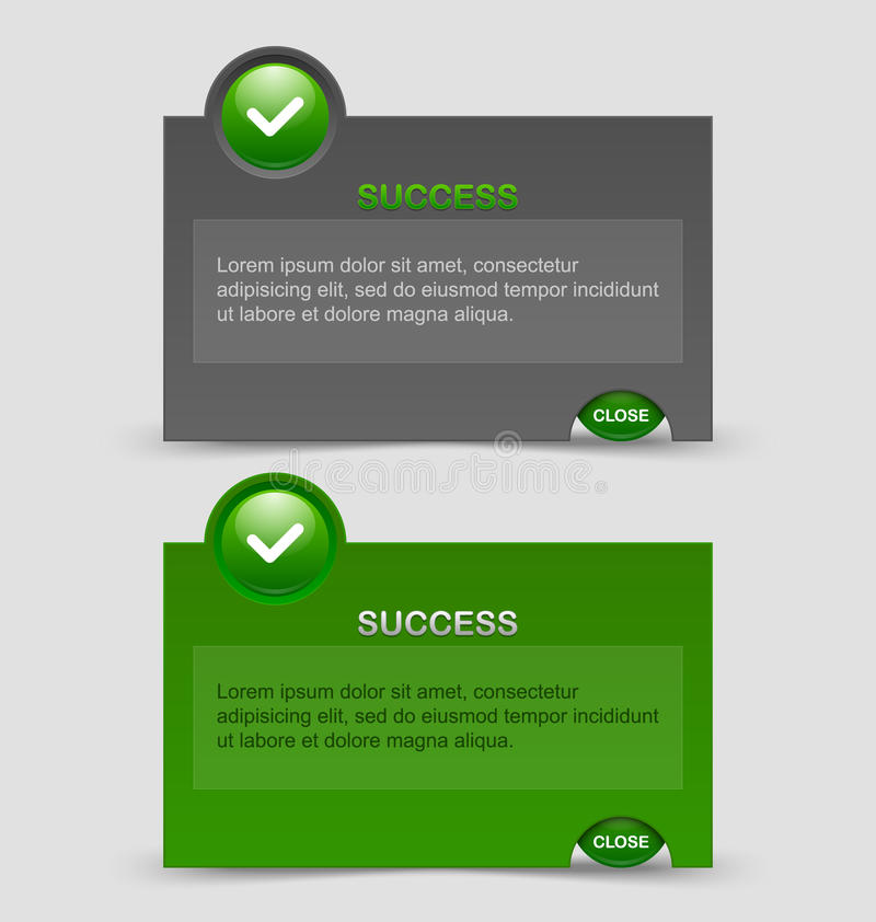 Success notification windows. Two styles of success notification windows on pale grey background vector illustration
