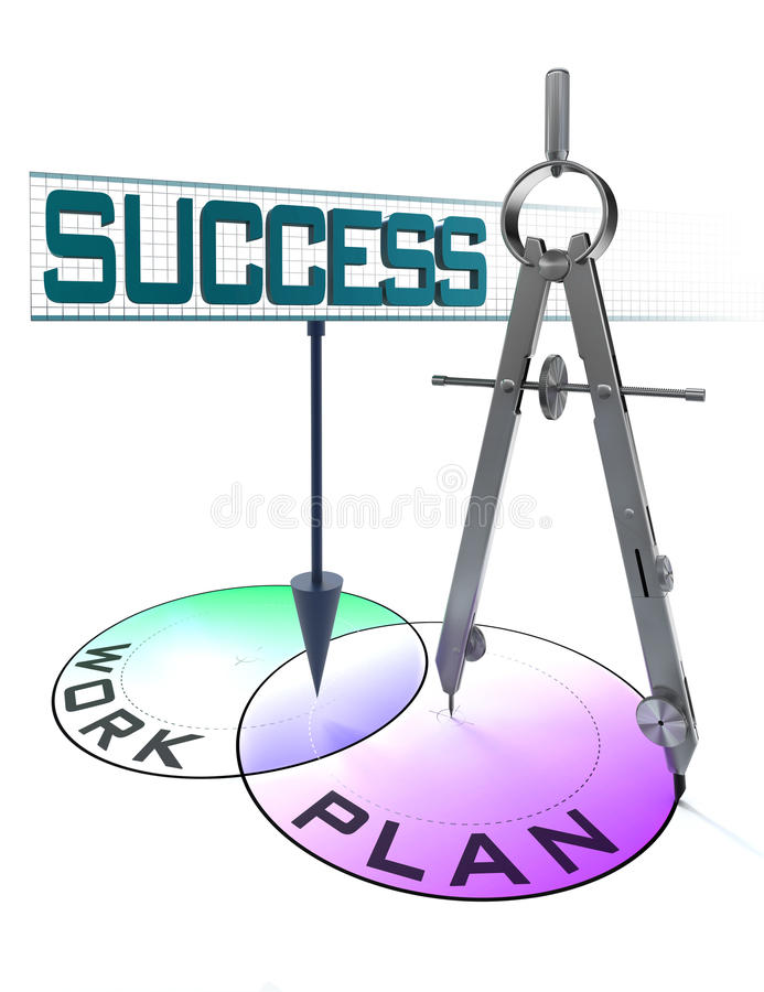 Success, plan and work in circles and drawing compass stock illustration