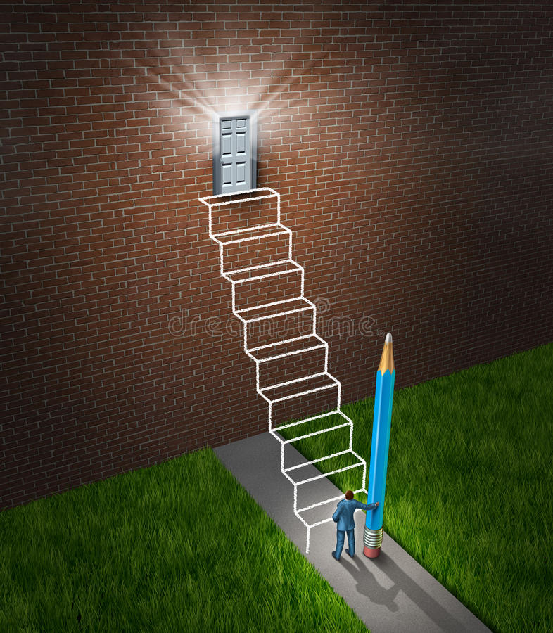 Success Planning. Business concept with a businessman holding a pencil that has drawn a sketch of a future planned staircase with steps leading to a glowing stock illustration