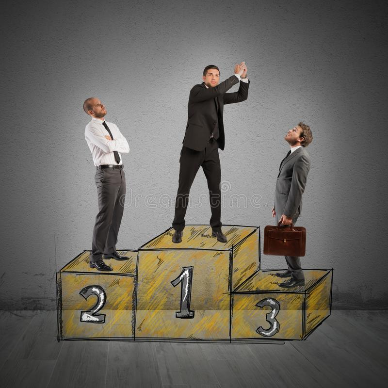 Success podium. Business people envy businessman came to success royalty free stock photos