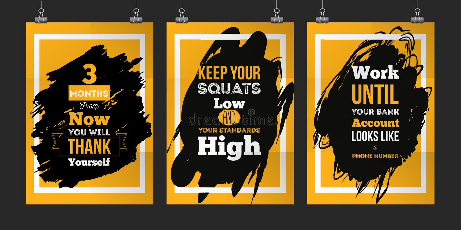 Success poster set for wall. Business Motivation Quote set Concept. EPS10 vector illustration