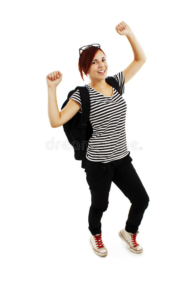 Success pretty caucasian girl with backpack