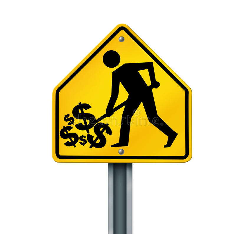 Success and reaping rewards street sign symbol. Success and reaping rewards street sign represented by a man who is digging his pile of money due to his wealth stock photography
