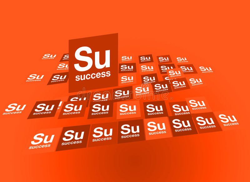 Success Red. Graphic composition of Success featured as an element of the periodic table stock illustration