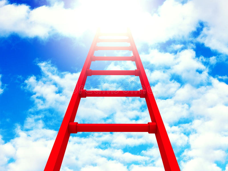 Success Red Ladder To Clouds Sky Background. 3d Render Illustration royalty free illustration