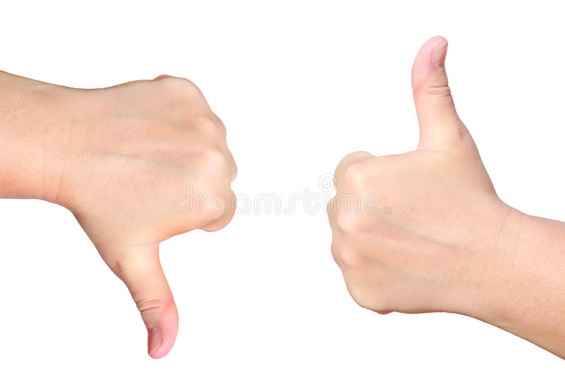 Success and rejection. Hand with a thumb up and hand with a thumb down isolated on white background - success and rejection symbols stock photos