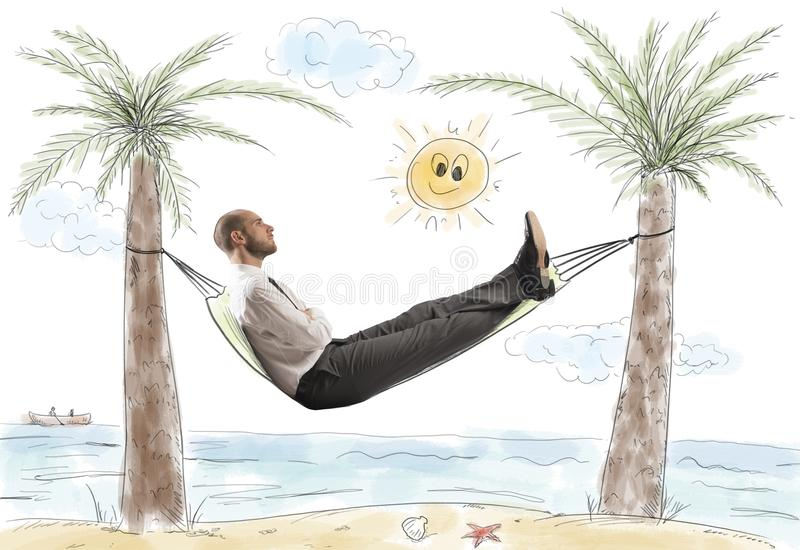 Success and relax of a businessman royalty free stock images