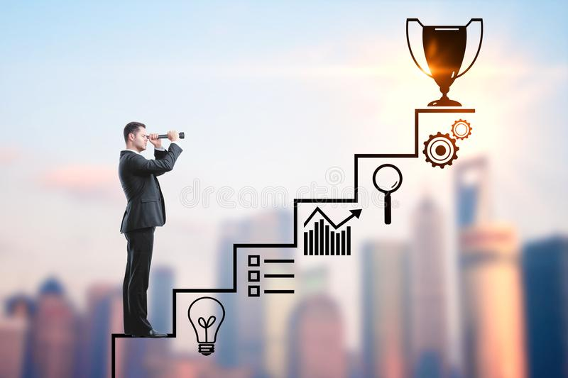 Success and research concept. Businessman with binoculars climbing creative steps and award sketch on blurry city background. Success and research concept royalty free stock image