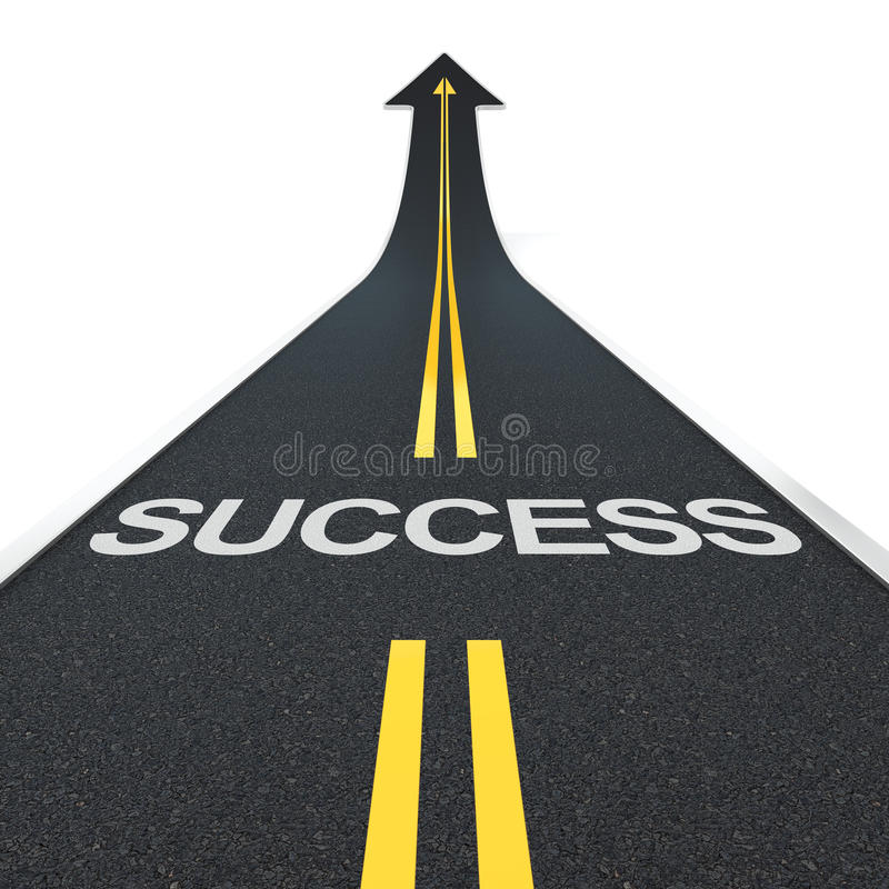 Success road. 3D render of arrow road with success letters royalty free illustration