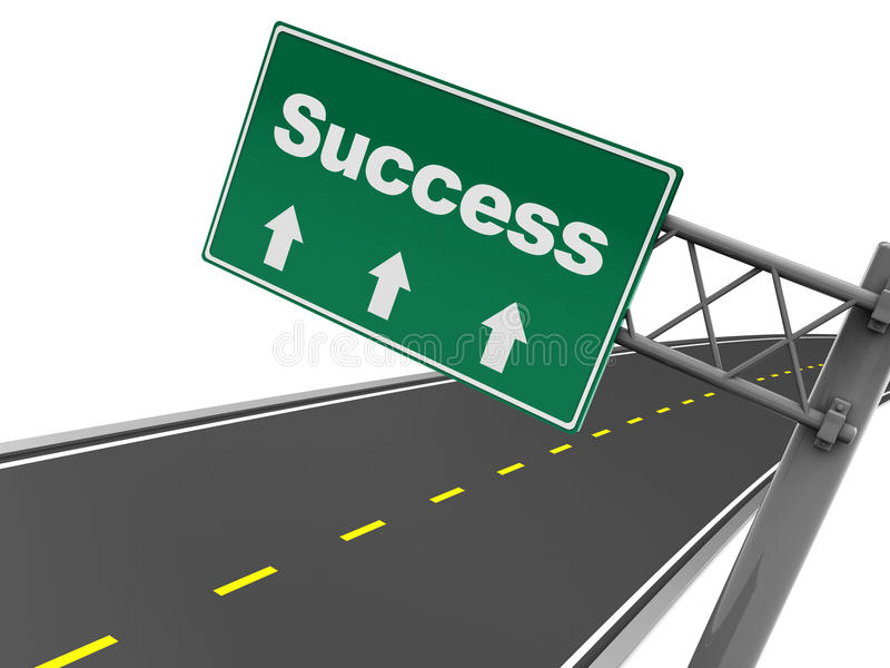 Success road sign. Abstract 3d illustration of road sign with success label vector illustration