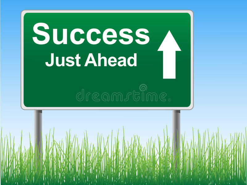 Success road sign on the sky background. Grass underneath. Vector EPS format royalty free illustration