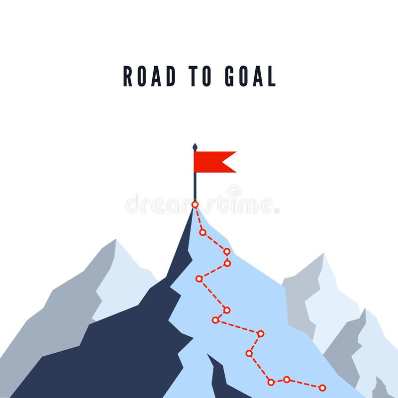 Success Route. Path to top of mountain. Business success plan. Mountain climbing route to peak. Flat Vector illustration.  stock illustration