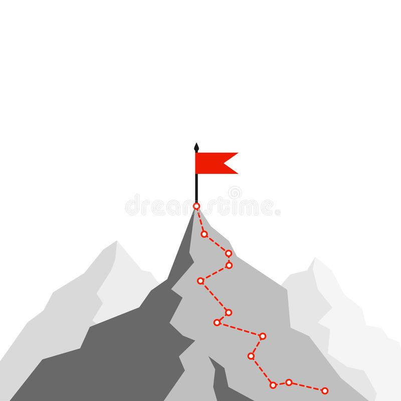 Success Route. Path to top of mountain. Business strategy path to success. Mountain climbing route to peak. Flat Vector. Illustration vector illustration