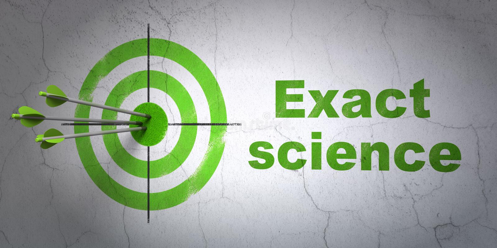 Science concept: target and Exact Science on wall background. Success Science concept: arrows hitting the center of target, Green Exact Science on wall royalty free illustration