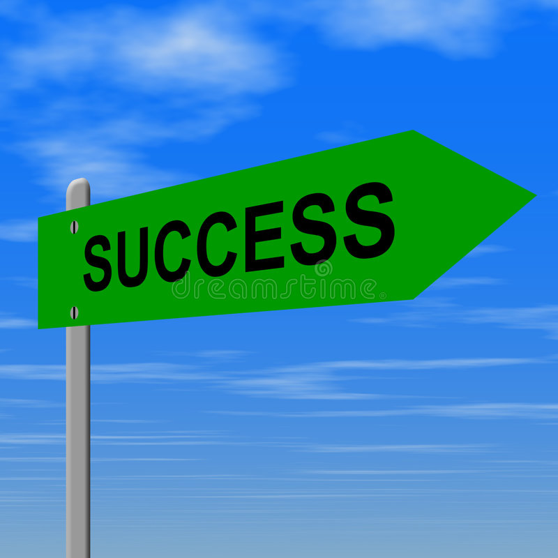 Success sign. Road to success sign - concept for success stock illustration