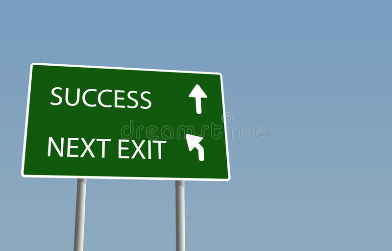 Success sign. Vector image of a sign styled like a road sign, showing the road the success. The vector file is available in illustrator's ai format and is fully vector illustration