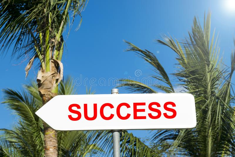 Success sign in tropical forest. Successful in life and business concept. Road sign. Success sign presentation royalty free stock images