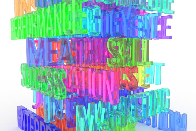 Success, Skill, business conceptual colorful 3D rendered words. Rendering, background, digital & web. Success, Skill, business conceptual colorful 3D rendered vector illustration