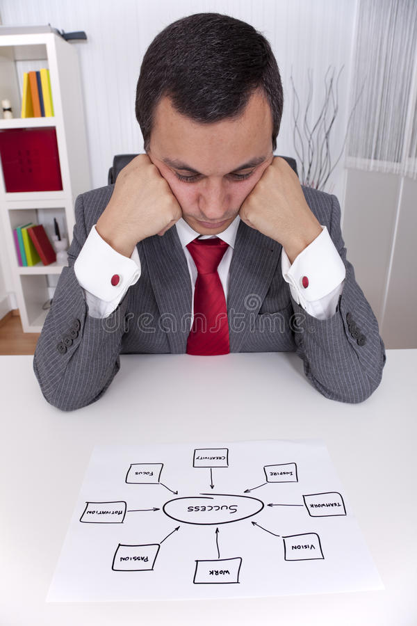 Success solution. Businessman looking to a solution diagram to success (selective focus royalty free stock images
