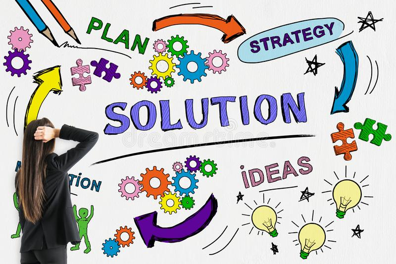 Success, solution and marketing concept stock photos