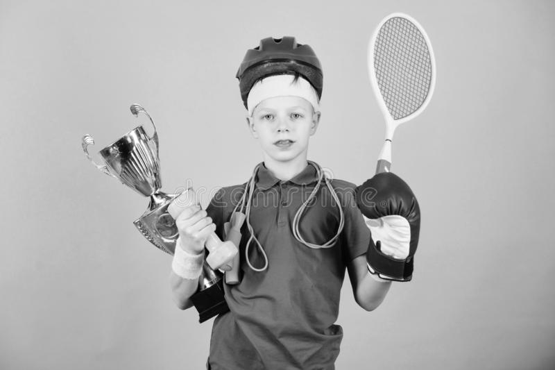 Success in sport. Proud of achieved success. Succeed in everything. Athlete successful boy sport equipment jump rope royalty free stock images