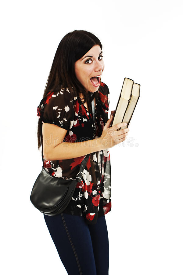 Success student excited with books