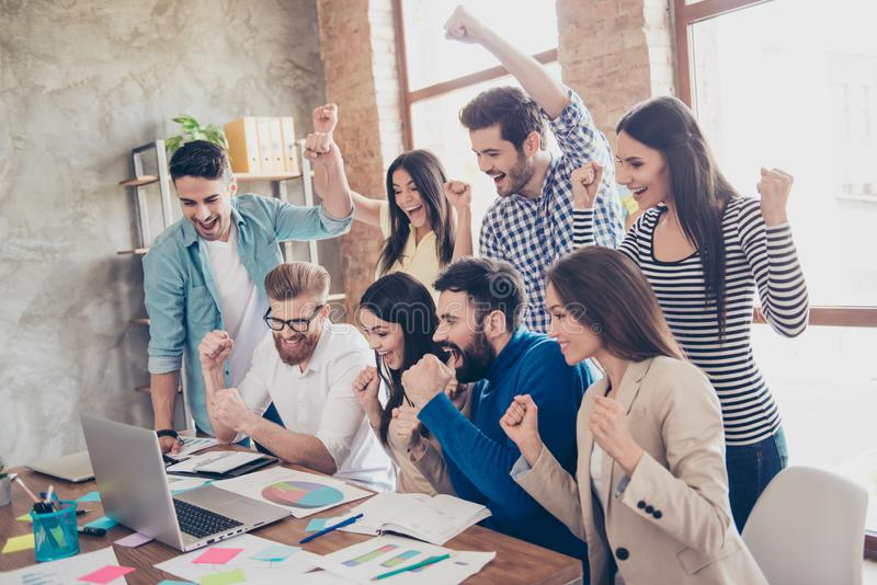 Success and team work concept. Group of business partners with r royalty free stock image