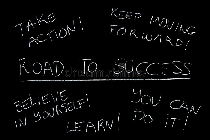 Success training. Blackboard training course for becoming successful stock images