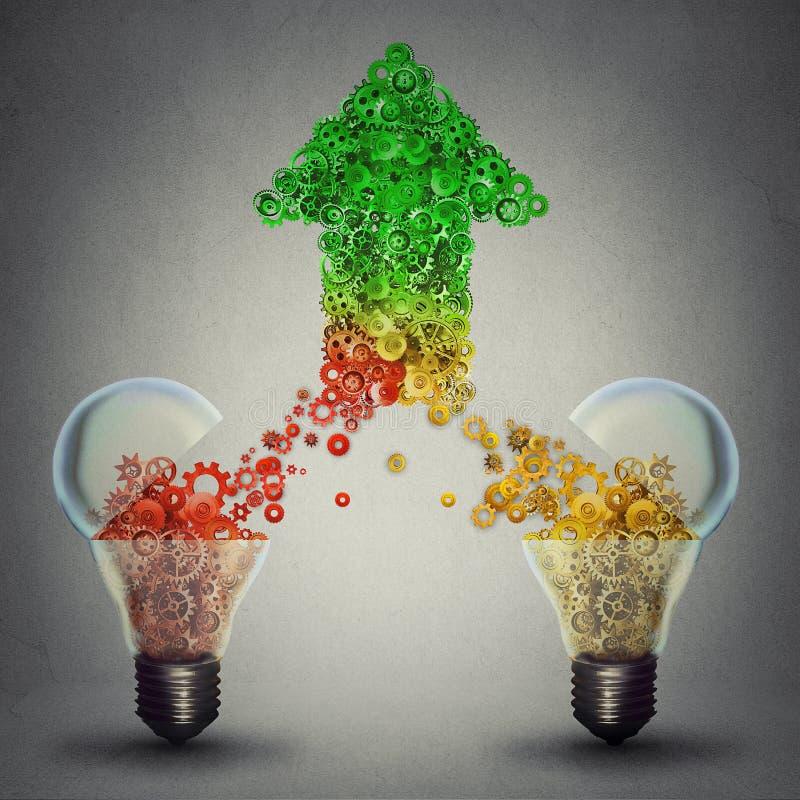 Success two glass light bulbs releasing gears in shape of upward arrow. Creative innovation success concept. Two open glass light bulbs releasing gears cogs stock photos
