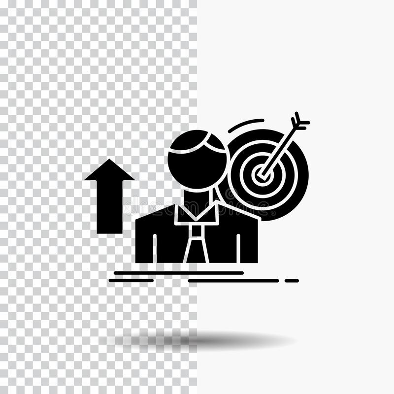 success, user, target, achieve, Growth Glyph Icon on Transparent Background. Black Icon stock illustration