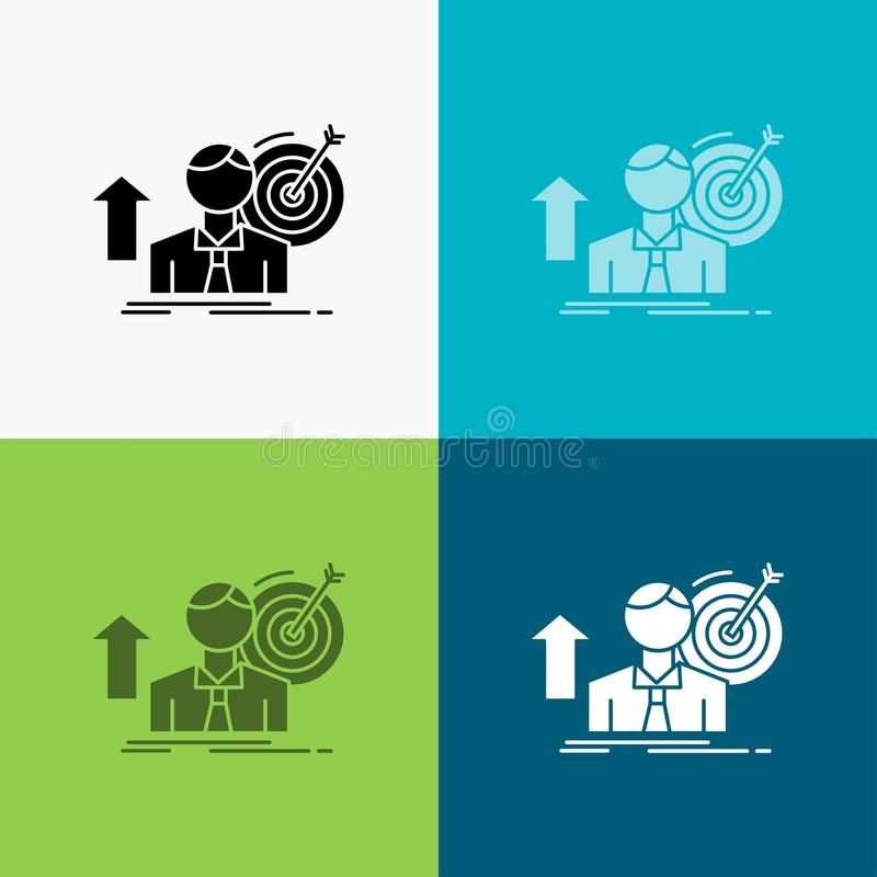 success, user, target, achieve, Growth Icon Over Various Background. glyph style design, designed for web and app. Eps 10 vector vector illustration