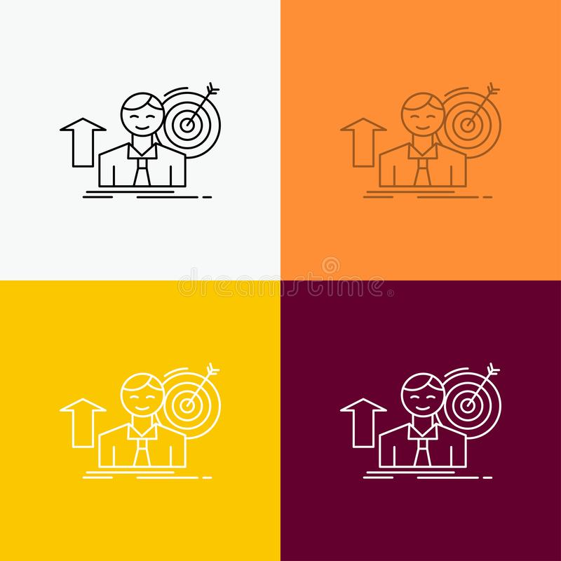 success, user, target, achieve, Growth Icon Over Various Background. Line style design, designed for web and app. Eps 10 vector vector illustration